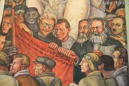 Fragment muralu dla Rockefellera - jak się domyślacie, wymowa nie spodobała się kapitalistom
