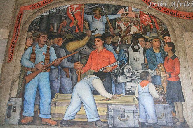 Jeden z wielu murali w Ministerstwie Edukacji, w centrum sportretowana Frida