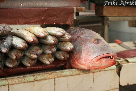 Sklep rybny, targ w Oaxaca